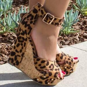 Wedge Talons Léopard En Chaussures Hauts Sandales Daim Cheville Peep Mode Toe Femmes Boucle axwCwRq