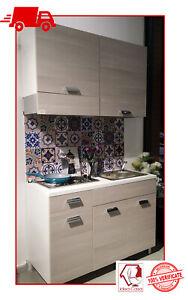 Mini Cucina Monoblocco 120 Cm Completa Di Piano Cottura Lavello E Cappa Olmo Ebay