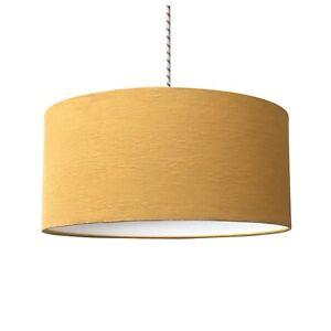 Image Is Loading Mustard Yellow Linen Fabric Drum Light Shade Amp