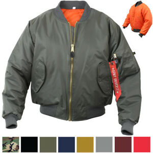 MA-1-Flight-Jacket-Military-Bomber-Coat-Reversible-Orange-MA1-Army-Air-Force