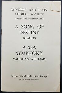 Windsor & Eton Choral Society Programme, 1957, 'A Song Of Destiny' & More