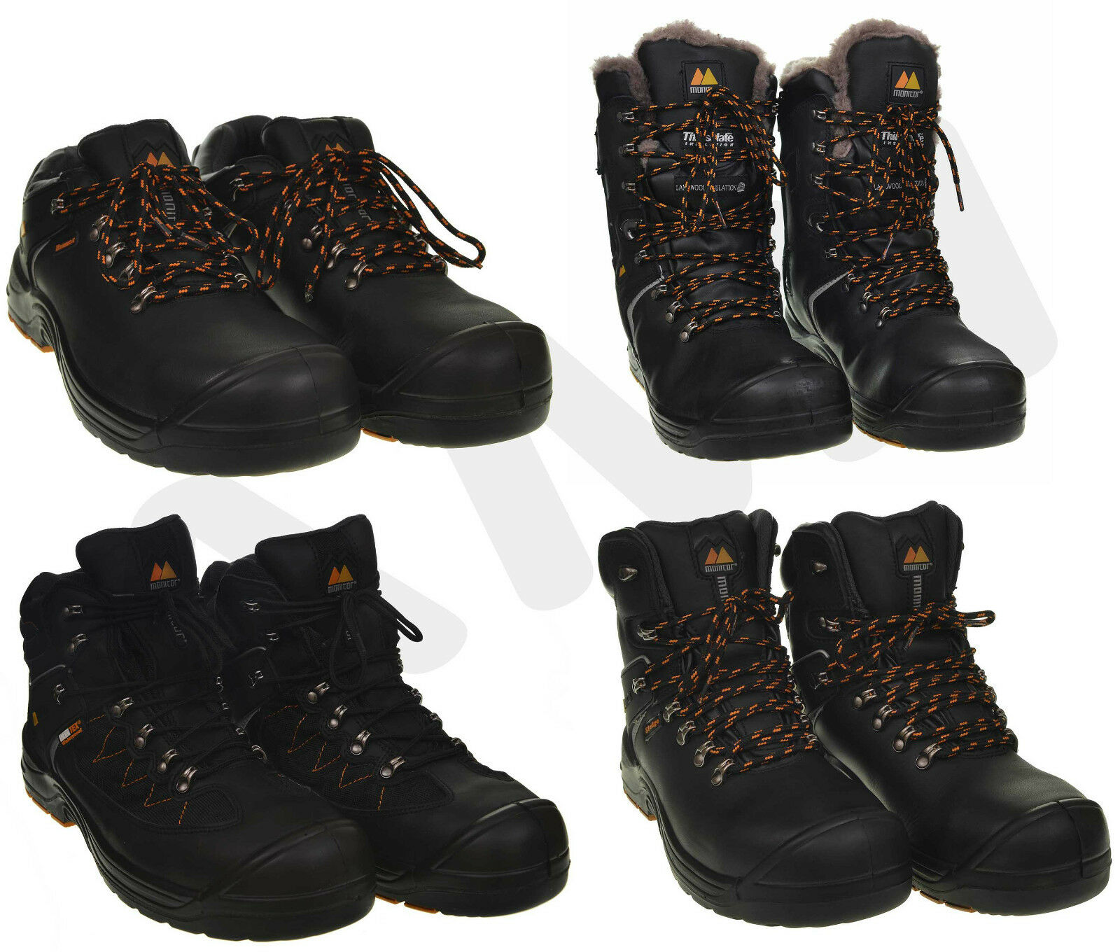 LEATHER MONITOR SAFETY BOOTS, TRAINERS WORK SHOES PredECTIVE TOE CAP SIZES 7-11
