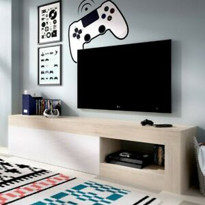 Detalles de Mueble Bajo Mesa Televisión 204 cm Nature y Blanco Comedor  Salón Moderno Nuevo