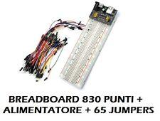 KIT BREADBOARD 830 PUNTI + 65 JUMPER DUPONT + MB102 ALIMENTATORE - ARDUINO