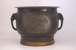Japanese Antique Bronze Hibachi brazier bamboo tiger Design vase Asian BV272