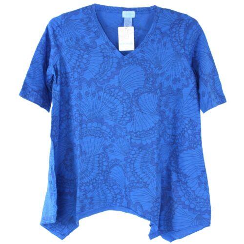 BeachComber 100/% Cotton 1//2 Sleeve Asymmetric V Neck Tunic