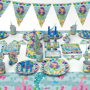 Mermaid-Theme-Under-The-Sea-Birthday-Favor-Tableware-Decor-Banner-Plate-34CA