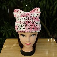 White and Pink Summer Pussy Cat Hat 100% Cotton Pussyhat Crochet Knit Beanie