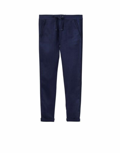 JOULES Monaco Navy Linen Trousers  Sz 10 12 RP£59.95 FreeUKP/&P