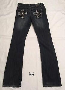 Antique-Rivet-Faded-Black-Denim-Jeans-CZ-Stones-Crosses-Size-26-14-Waist-Nice