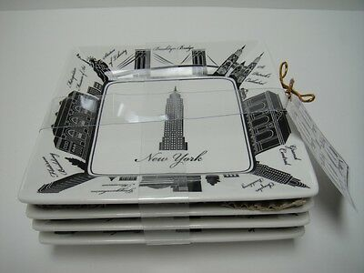 "222 FIFTH ""CITY BLOCKS - NEW YORK"" APPETIZER PLATES S/4"