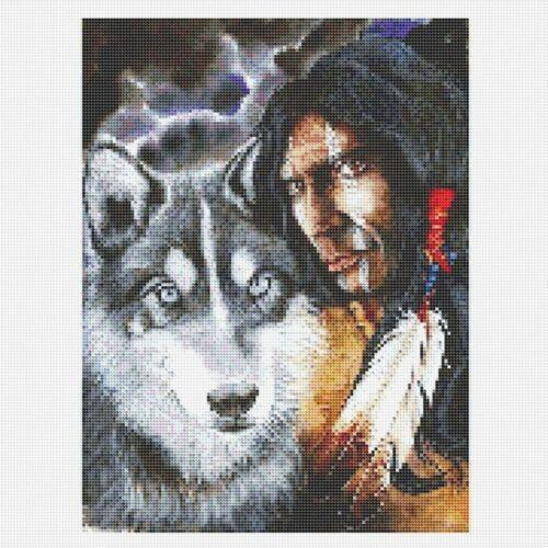 Mosaic Full Drill 5D Diamond Painting Crafts Arts Kits Indian Man And Wolf DIY