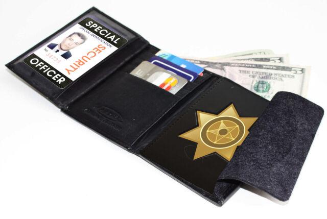 Black Genuine Leather Conceal Carrying Tactical Badge Men/'s Wallet Shield Holder