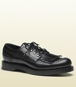 915ec2667ac  990 New Gucci Men s Leather Fringed Brogue Lace-Up Shoes Black ...