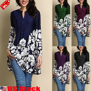 9b183f9488436a Plus Size Women's Loose Long Sleeve V Neck Casual Blouse Shirt Tunic ...