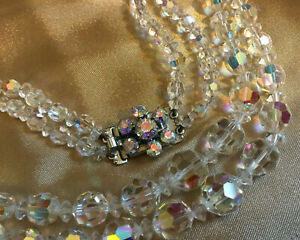 VINTAGE Rainbow Clear Aurora Borealis Double Strand Necklace Floral Clasp #3