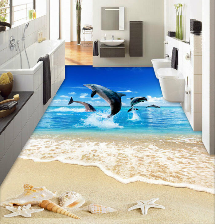 3D Jumping Dolphin Beach Sea Floor Mural Photo Flooring Wallpaper Home Wall Deca