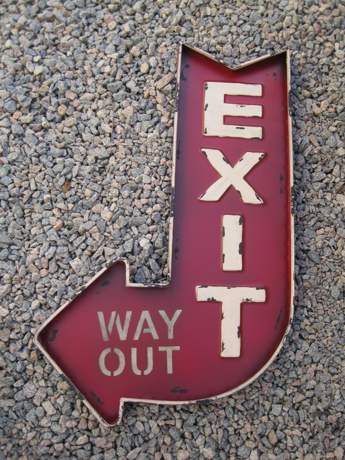 Distressed rouge Exit Way Out Metal Wall Sign Antique Vintage Home Decor Display
