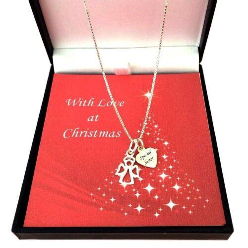 tía Mum Collares de plata esterlina en caja de regalo de Navidad Regalo para Hija