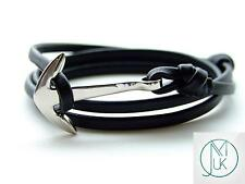 Silver Anchor Black Leather Bracelet Wrap Around Unisex Adjustable