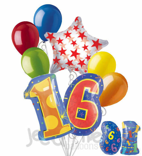 8 Pc 16th Birthday Theme Balloon Bouquet Party Decoration Number Primary Color For Sale Online