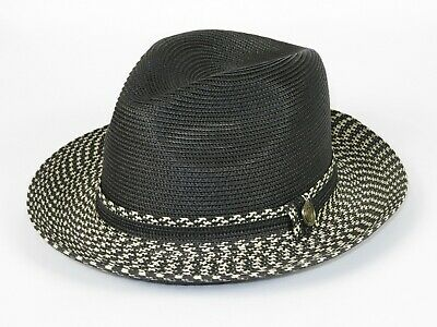 Men Summer Straw Style Hat BRUNO CAPELO Fedora 2Tone Crushable SA802 Natural New