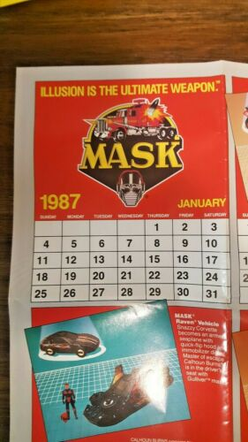 Vintage 1987 1988 Calendar Poster two sided Kenner M.A.S.K