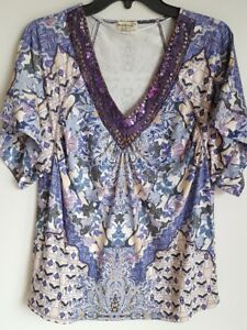 10c221b497e ONE WORLD Live and Let Live Sz M Beaded Embellished V Neck Tunic Top ...