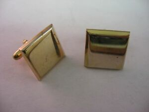 Vintage-Mens-Cufflinks-Gold-Tone-Squares-Jewelry