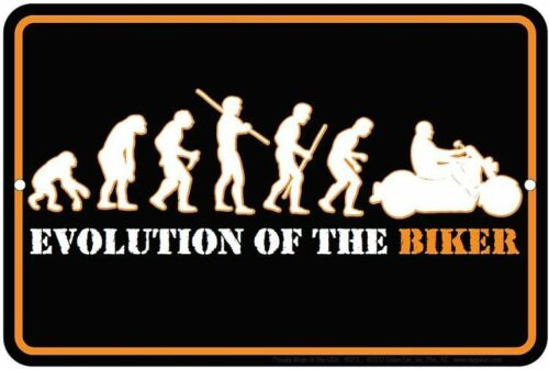 EVOLUTION OF THE BIKER 8x12 metal sign Motorcycle sign  .