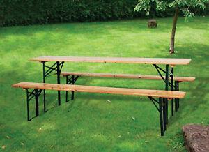Détails sur Set Taverne Pliant Table Bois 2 Bancs cm 220x70x76h Jardin