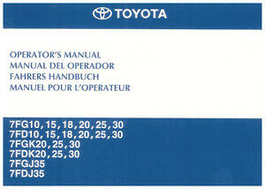 forklift operator manual toyota 7 series 1 3 tonne ebay rh ebay com toyota forklift operators manual pdf toyota forklift operators manual 8fbcu20