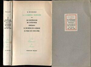 BALZAC-LES-SOUFFRANCES-DE-L-039-INVENTEU-FERRAGUS-FILLE-AUX-YEUX-OR-Ed-HAZAN-1950