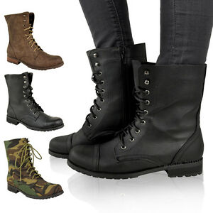 LADIES-WOMENS-LOW-HEEL-FLAT-LACE-UP-BIKER-ARMY-MILITARY-COMBAT-ANKLE-BOOTS-SIZE