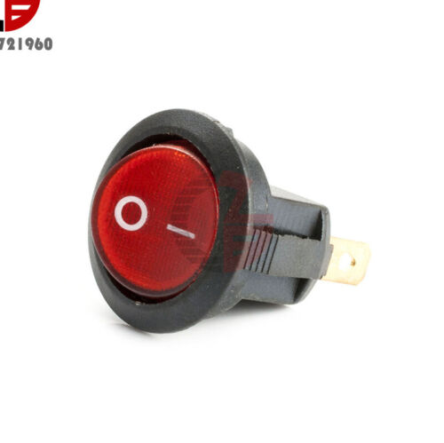 5PCS 3 Pin Mini Red Round SPDT ON//OFF Rocker Switch Snap-in 6A 250V 10A 125V