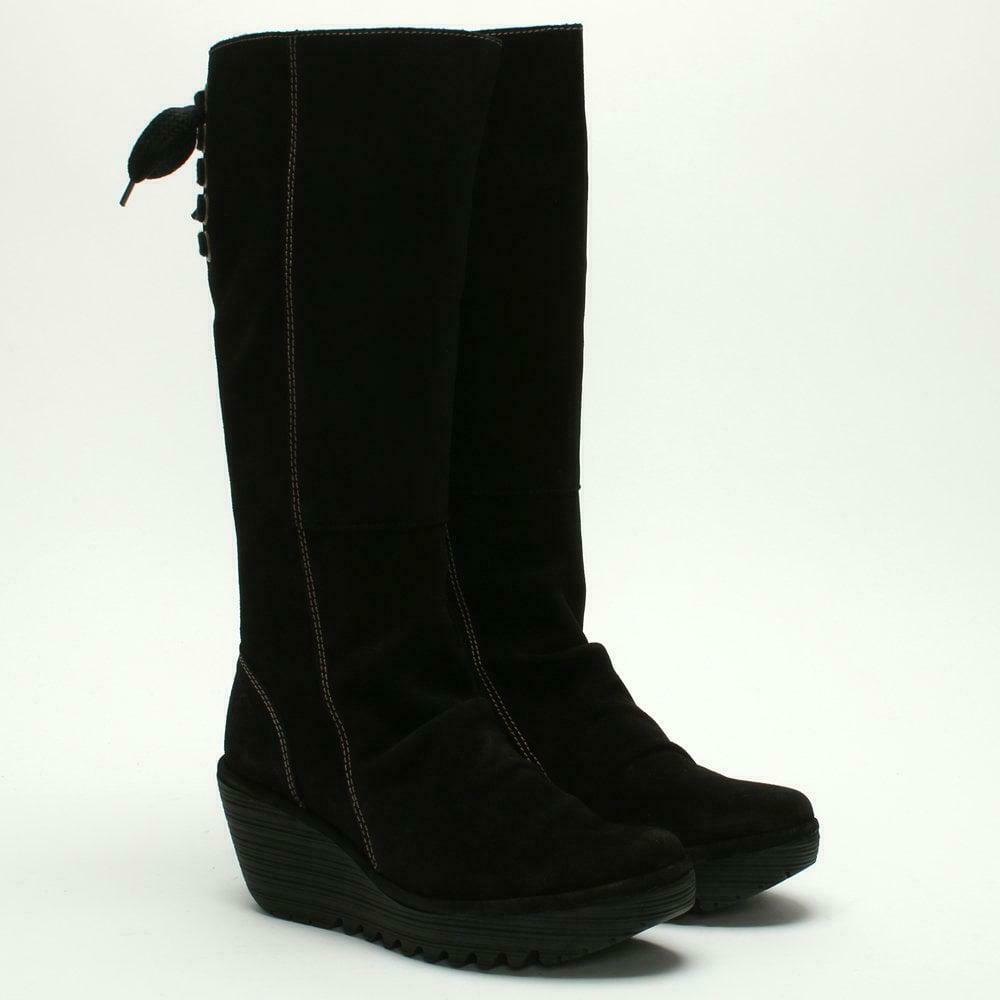 FLY LONDON SHOES YUST TALL PLATFORM WEDGE BOOT BLACK SUEDE 39  270