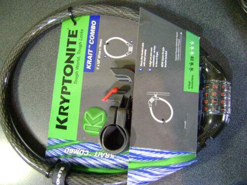 NEW Kryptonite Krait Flexible Steel COMBO Locking Cable 2-feet x15mm thick One 1