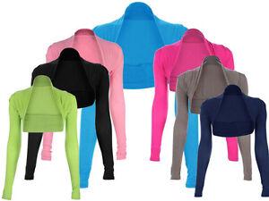 Womens-Ladies-New-Long-Sleeve-Short-Shrug-Sizes-8-12