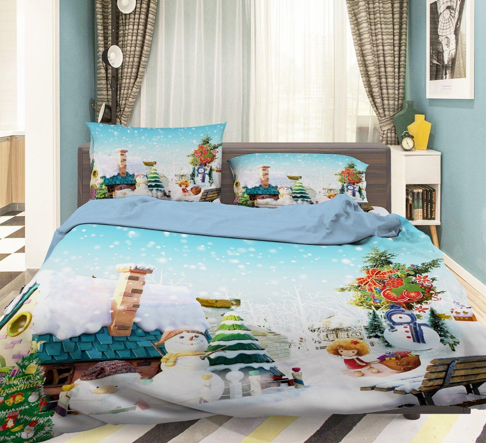3D Christmas Xmas Home 70 Bed Pillowcases Quilt Duvet Cover Set Single Queen UK