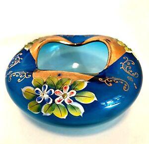 Blue-Art-Glass-Bowl-Hand-Blown-Gold-Trim-Overlay-Raised-Porcelain-Flowers
