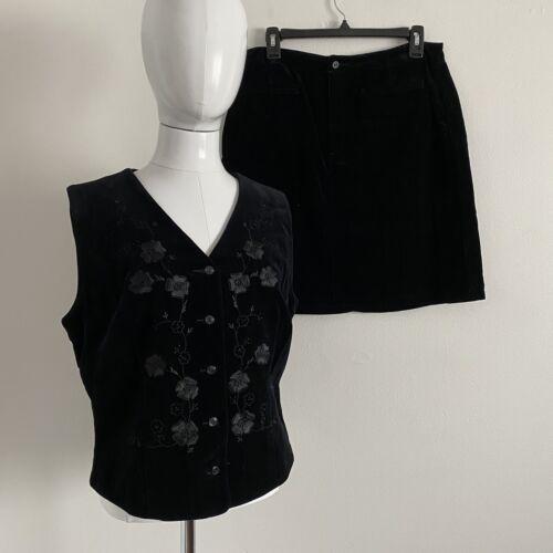 Claiborne Sz12 Y2K Velvet Skirt Set Floral Embroid