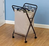 Rolling Laundry Hamper + Natural Polyester Bag Home Clothes Bedroom Hotel Motel on sale