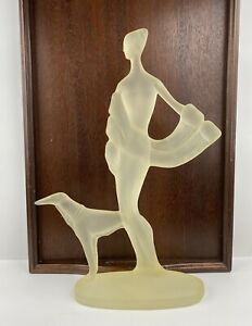 Art-Deco-Woman-w-Greyhound-Austin-Production-Sculptures-1986-17-H-x-12-75