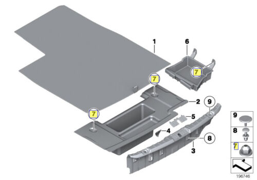 BMW 10 mm HEX-Tête en Plastique Auto-Threading Bride écrou 5 mm 07147221224