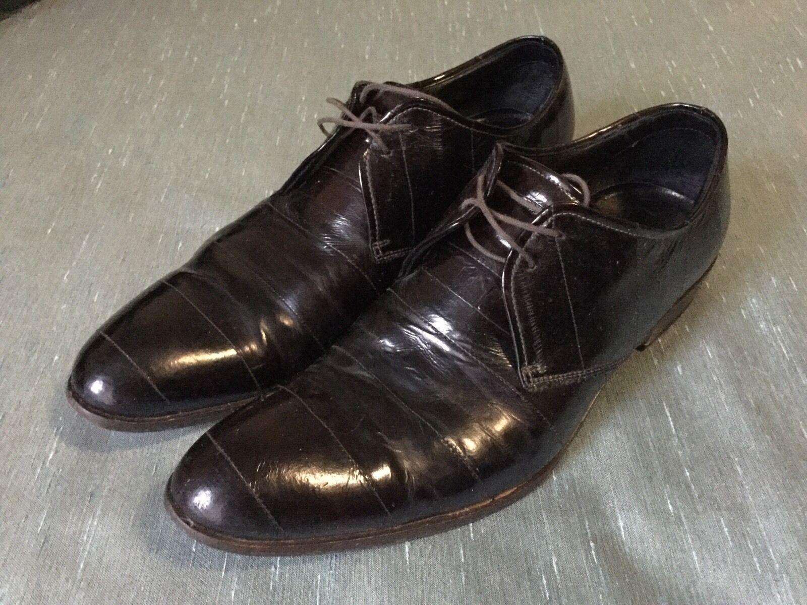 Kenneth Cole Dot Com EI Dark braun Eelskin Leather Derby oxford italy 8.5
