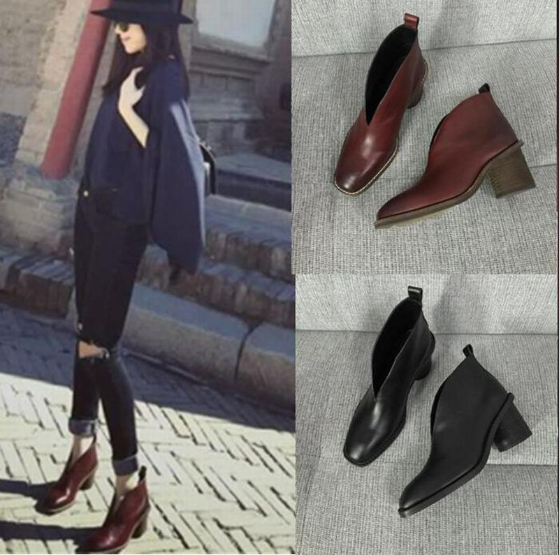 Leather Womens Ankle Boots Pull On Block Med Med Med Heels Square Toes Fashion shoes ca80de