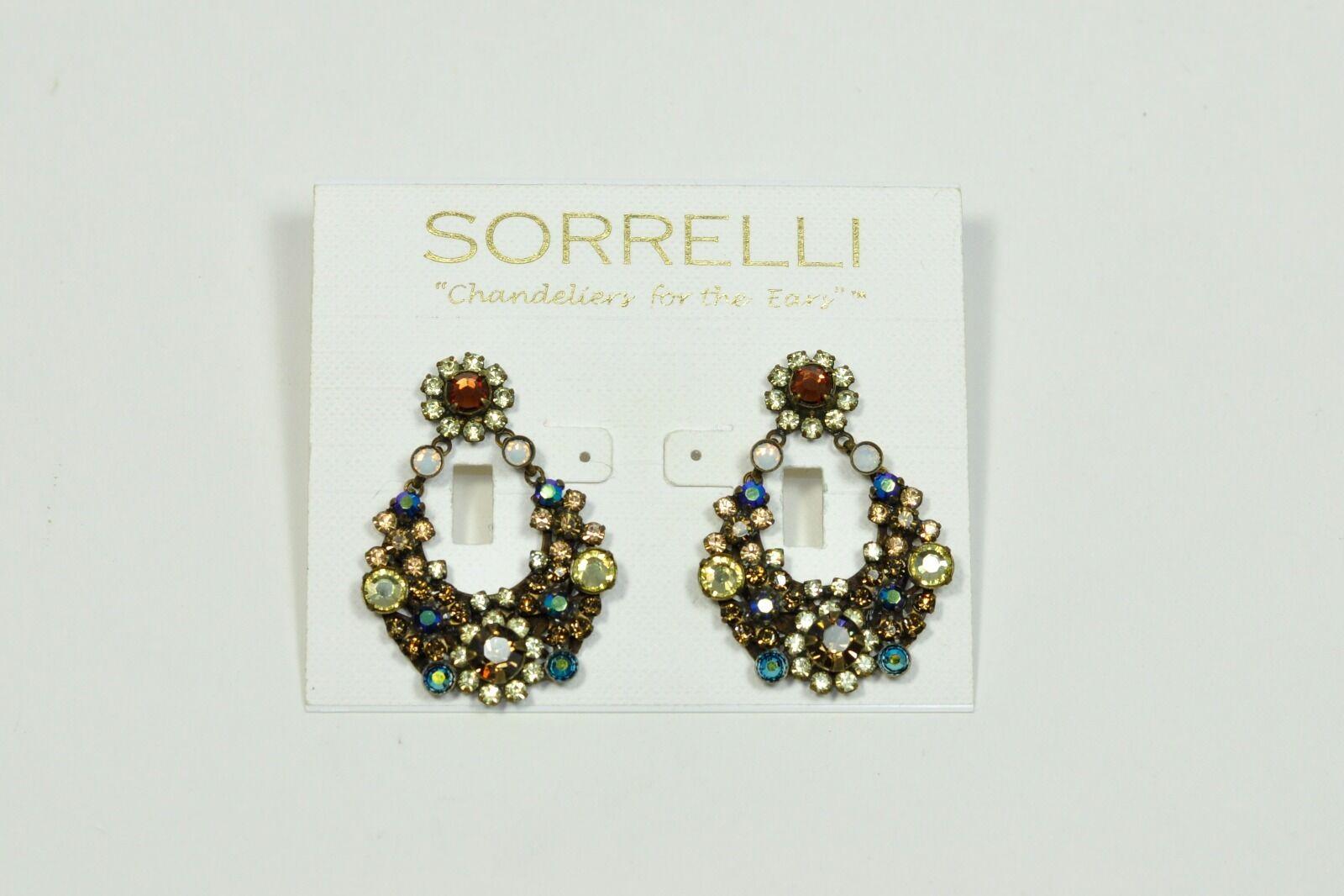 Sorrelli Chandeliers Iced Coffee Topaz Crystal Dangling Drop Post Earrings NWT