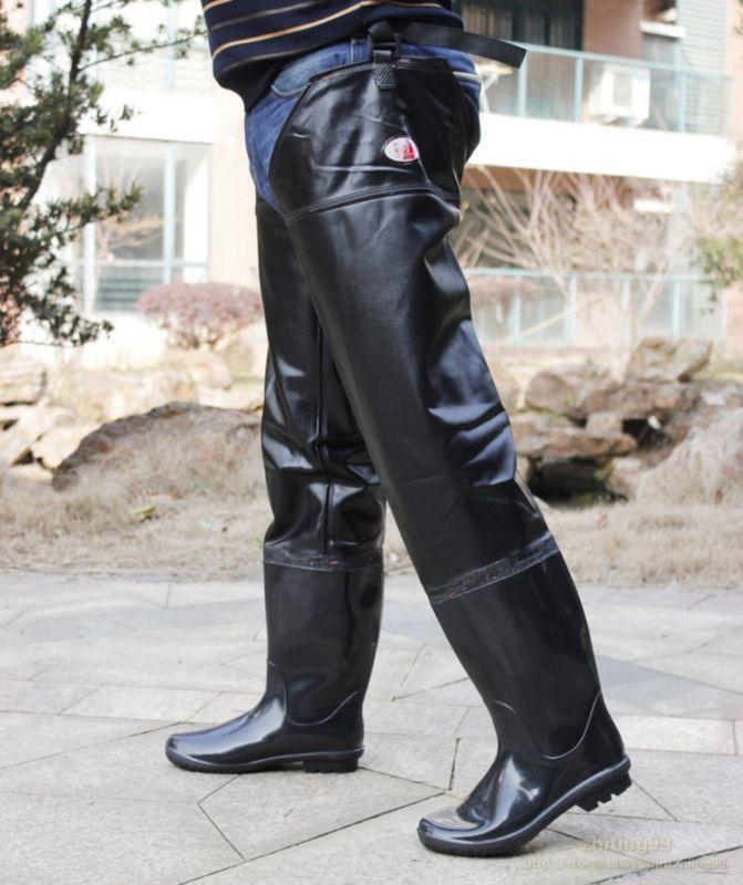 Waterproof Mens Thigh High Black Rain