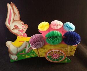 Easter-Bunny-Rabbit-Cart-Paper-Honeycomb-Eggs-Diecut-Cardboard-Beistle-USA-Vtg