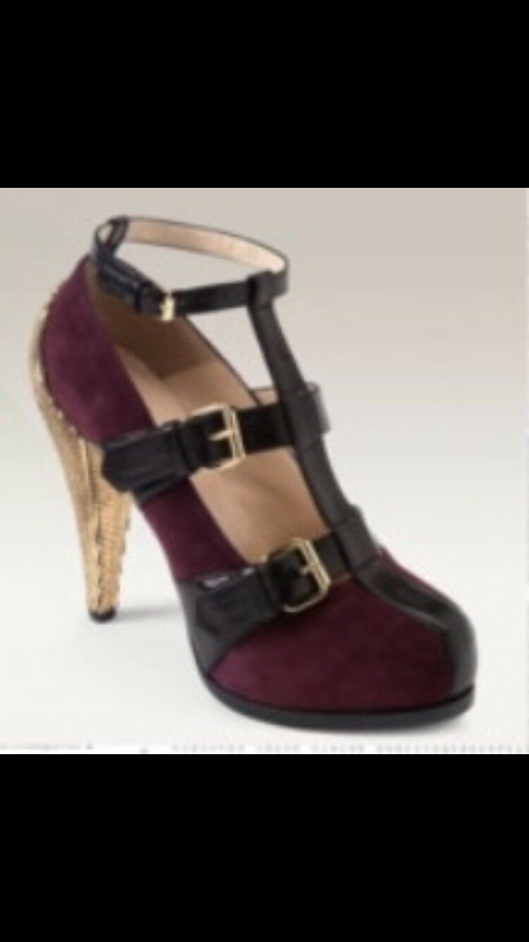 3.1 Philip Lim Platform Cage Heel gold Bordeaux 38.5  738 With Box